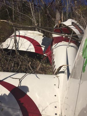 A single-engine aircraft ran off the runway and crashed after getting stuck in full-throttle position while taxiing into takeoff position at Blairstown Airport, according to Blairstown police.