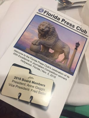 A booklet given out to award recipients during the annual Florida Press Club award ceremony in St. Augustine.