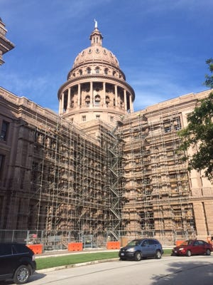 Scaffolding allowed workers to replace about 700 windows at the Capitol building in Austin.