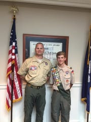 Shown are Patrick Hilliard and his Scout Leader, Ed Amen.