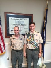 Shown are Matthew Stamey and his Scout Leader, Ricky Murphy.