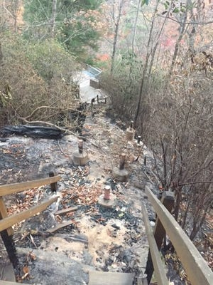The staircase leading to the base of Whitewater Falls in Jackson County was completely destroyed by wildfire.