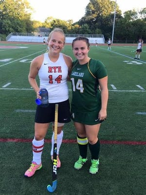 Rye's Fusine Govaert (l) has been named first-team all-American and Lakeland's Mia Lennon (r) has been named third-team all-American for high school field hockey.