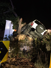 Since July, three drunken drivers have crashed into a retaining wall on the side of the Thousand Oaks home of Cheryl and David Dumais. Two of the vehicles, including this one in October, penetrated into the couple's backyard.