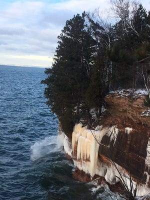 Though spraying waves have contributed to ice formations on the Apostle Islands, they've kept the lake from freezing, meaning that the ice caves are not accessible at this time.