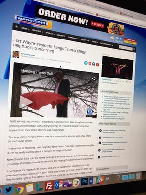 Trump doll shown hanging from a tree on the WANE-TV website on Monday.