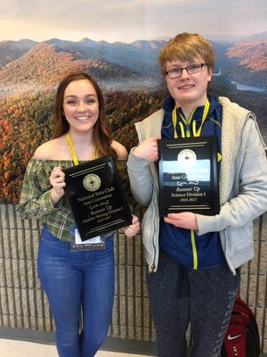 Sophomore Emily Greenwell, left, competed in the on-demand creative writing category and received runner-up. Sophomore Ben Clements, right, competed in the science written assessment category and also received runner-up.