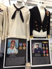 A U.S. Navy sailor shirt (left) worn by Major League Baseball Hall of Famer Stan Musial was recently on display at the Palm Springs Air Museum.