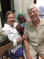 Susanne Dodd, left, local nurse anesthetist, Darlene (no last name available) and Joyce Hendrix, of Evansville.