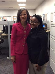 U.S. Rep. Lisa Blunt Rochester and Howard High School student Mya Cofield.