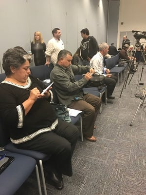 About two dozen people gathered to hear finalists for chancellor of the Ventura County Community College District speak Monday afternoon in Camarillo.