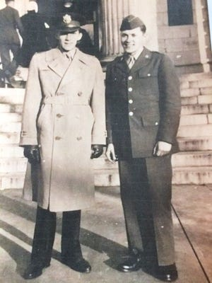 Frederick W. Fieder, US Air Force  (left) and his twin brother, Edward H. Fieder, US Army, during World War II.