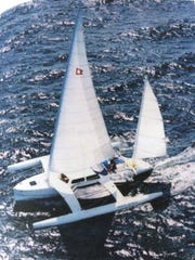"The catamaran ""White Wings,"" designed in 1994  by Dick Newick. """