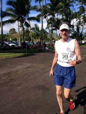 David McCorquodale running the Hilo Marathon in Hawaii.