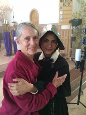 """Sister Carol Marie Power of the Sisters of Charity of Cincinnati meets Alma Sisneros, the actress portraying Sister Blandina Segale in the television series, """"At the End of the Santa Fe Trail."""""""