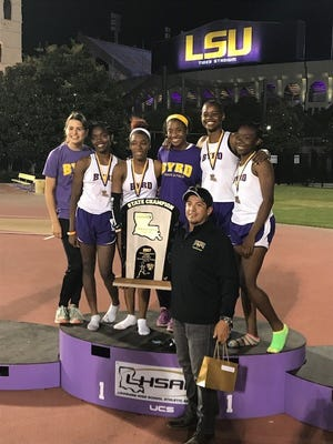 The Byrd girls track team celebrates its first state championship.