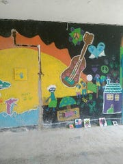 Children's drawings at the orphanage Kimes visited