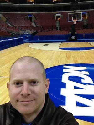 Fond memories: This was back in 2013, on the floor of the Wells Fargo Center in Philadelphia after covering FGCU's stunning NCAA tournament victories against Georgetown and San Diego State.