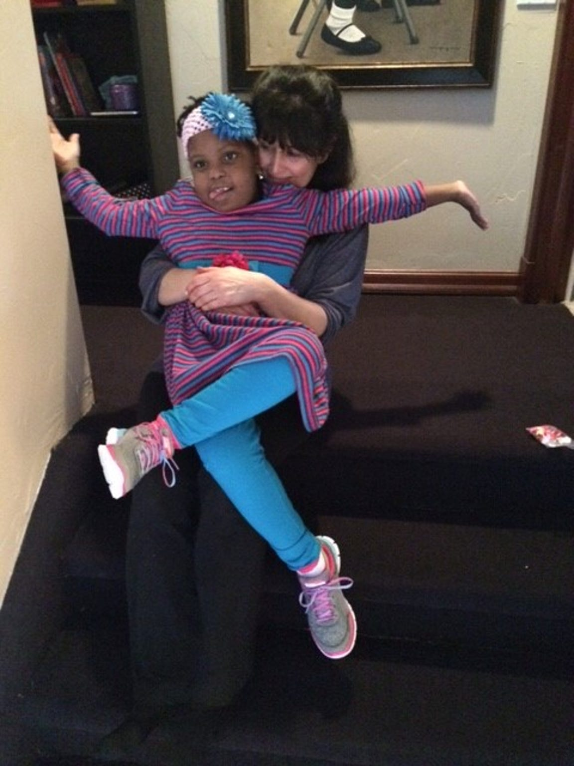 Chika and Janine Albom goof around in March 2016. The
