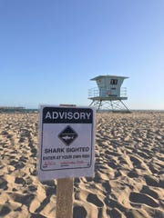 An advisory warning beachgoers of a shark sighting in Ventura was posted Sunday afternoon.