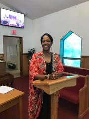 Rosalind Tompkins speaking at Congress of Christian Education at Shiloh Missionary Baptist Church, Madison.