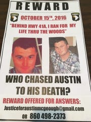 Austin McGeough's family has hung up posters around the county, offering a reward to anyone who can provide information leading to a conviction.
