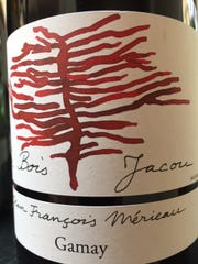 Le Bois Jacou 2015, $17.  Gamay,  Loire Valley, France, 12 percent alcohol. Solid red with prominent tannins at the finish.  Needs time in glass to aerate.