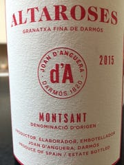 Altaroses 2015, $17.Joan d'Anguera; 14 percent alcohol. Montsant, Spain. Possibly the best value, dry, fruit at the front end, pleasant finish. Delightful!