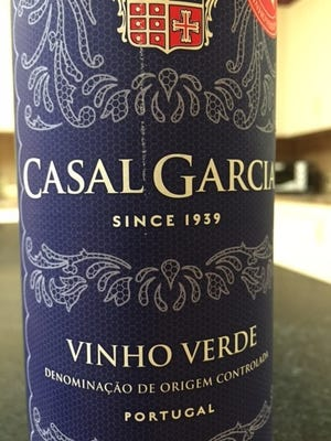 Casal Garcia Vinho Verde, non-vintage $10.  Penafiel, Portugal, 9.5 percent. Just enjoy — non-vintage means they blend it to taste the same each year.