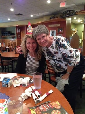 The author and her Aunt Becky celebrate a recent birthday.