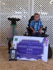 Braden Pederson's yearling ewe was also Grand Champion Ewe at Monroe County Fair in Tomah, WI.