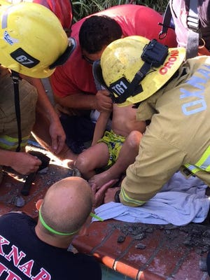 A 4-year-old boy was rescued Sunday afternoon after he got stuck in a pool drain, authorities said.