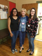 Left to right: Maria Guerreo,student, Barbara McCarter,