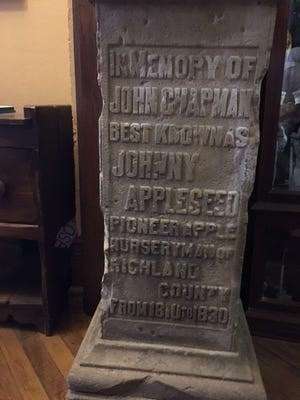 The Johnny Appleseed Monument is in Mansfield at the Mansfield Memorial Museum, 34 Park Ave. West, where it is on display.