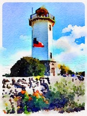 A painting of the Lakeside Park Lighthouse.