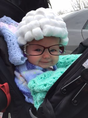 Anna Borreson, 4 months, dresses as an old lady for Halloween. Her parents are Erik and Monica Borreson of Stevens Point.