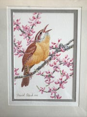 "This donated painting is by David Plank, ""Carolina Wren on Redbud,"" and because of its value, the owner will be chosen in a random drawing, with chances available to buy at $5 each."