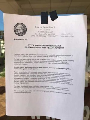 Warnings posted near Bethel Creek in Vero Beach advise people of a recent sewage spill.