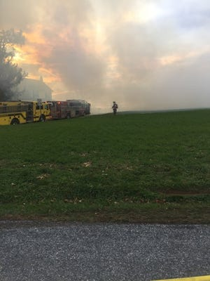 Firefighters are battling a hay bale fire in Chanceford Township, York County 911 says.