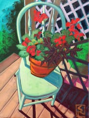 Green Chair, oil on canvas, by Susan Reynolds-Smith