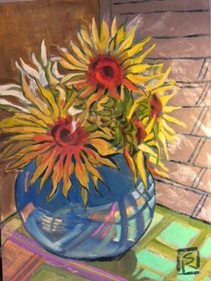 Sunflowers, oil on canvas, by Susan Reynolds-Smith.