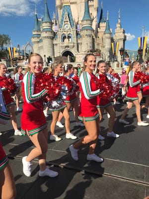 Corrin Dillon and Lindsey North from Centerville High School perform at the third annual Varsity Spirit Spectacular at the Walt Disney WorldResort.