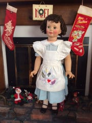 Eileen Cammarano's vintage Patty Playpal doll, all decked out for Christmas.