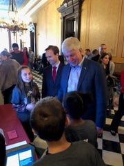 Gov. Rick Snyder talks with Wood Creek students about