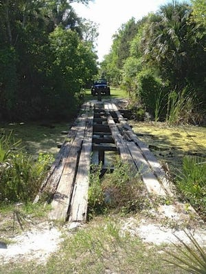 This old makeshift bridge is a part of the history that will be outlined during the free Jan. 27 open house at the Tosohatchee Wildlife Management Area west of Brevard County. The bridge dates back to the days when Tosohatchee was home to a private hunting club.