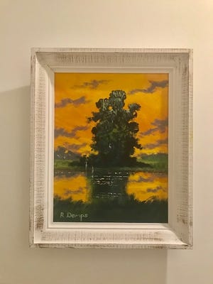 This year, Jerry Morbito is donating this original oil painting by Highwaymen Rodney Demps for a second raffle.