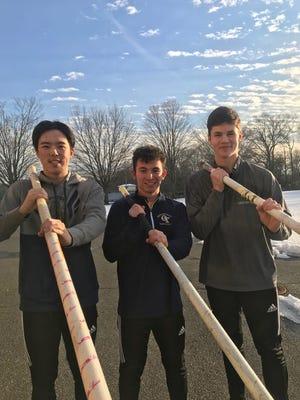 NV/Old Tappan pole vaulters: (from left) Jona Kim, Seth Kricheff and Tyler Hrbek.