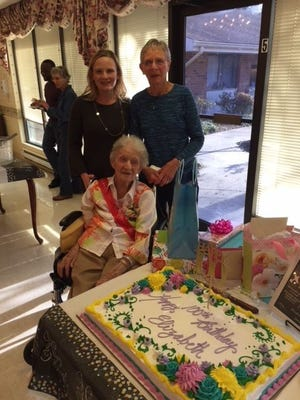 Elizabeth (DuBois) Mahady, pictured with her daughter, Mary Ruth Froelich, and her granddaughter, Susan Froelich, celebrated her 100th birthday with more than 50 family members and friends on Jan. 20 at the Genesis HealthCare Facility in Millville.