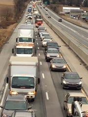 Northbound Interstate 83 traffic is snarled after an accident Thursday, Jan. 24, 2018, near the Glen Rock exit. Bill Kalina photo