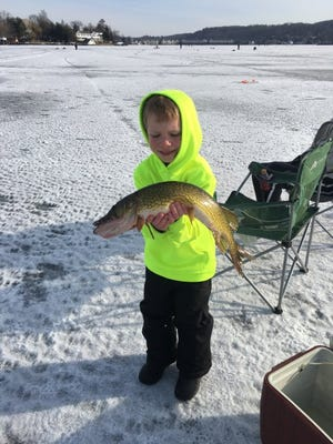 Gerald A. Deluescono, 6, of Lake Hopatcong with his contest-winning pickerel.